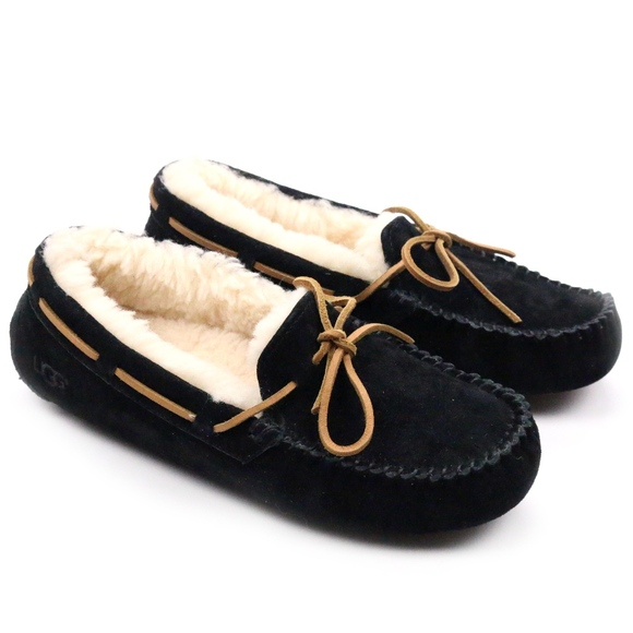 7cb8a339e3f UGG Dakota Black Suede Sheepskin Moccasins Slipper Boutique